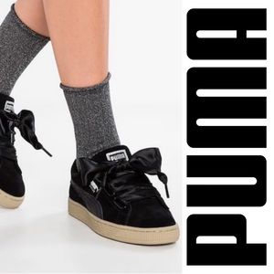 Puma Suede Heart Trainers In Black with Satin Bow